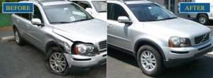before and after photo of a volvo